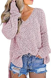 Kansopa Women's Pullover V Neck Fuzzy Sherpa Fleece Oversized Sweater Side Opening Jumper Casual Loose Fit Knit