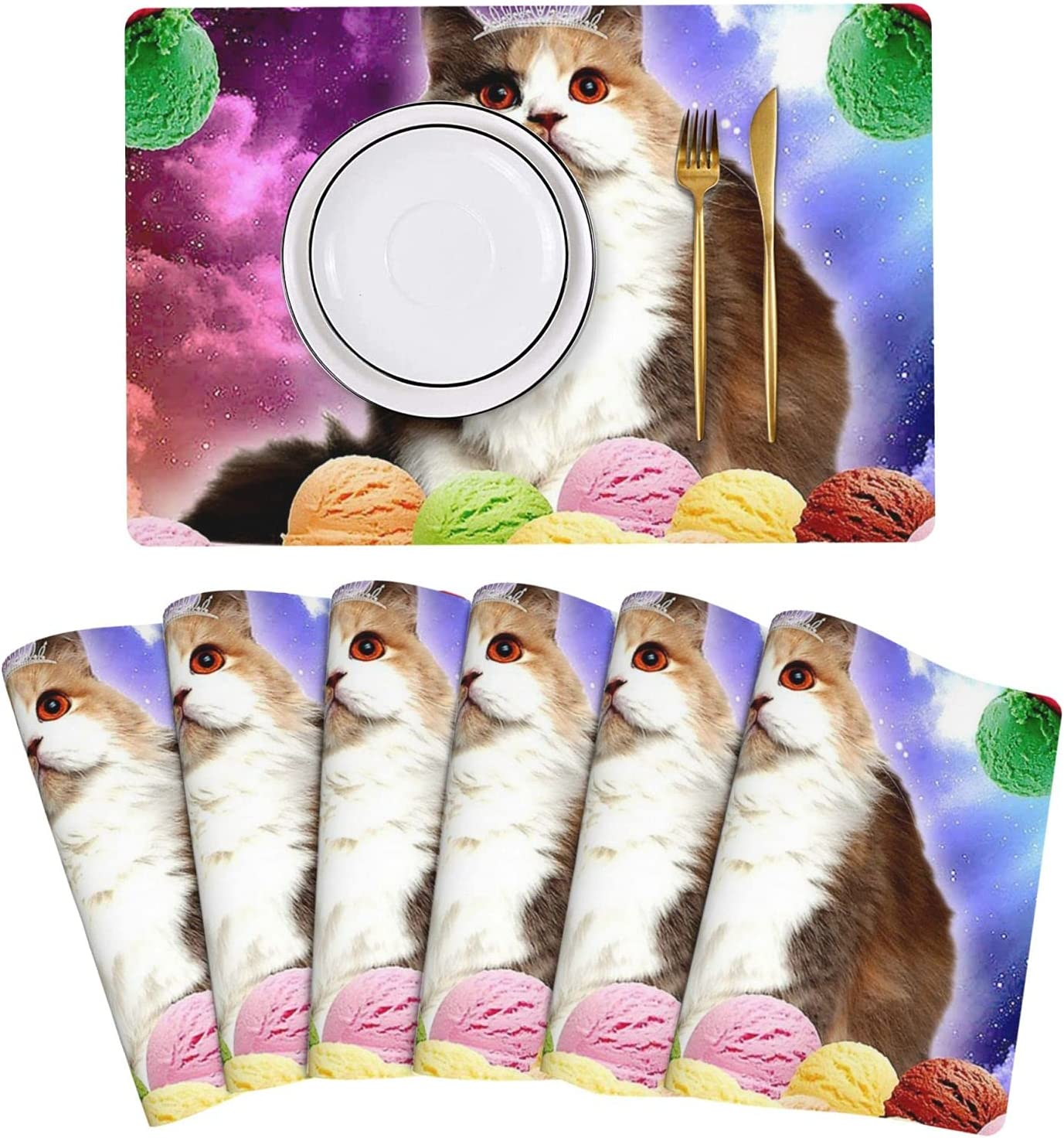 Ice Cream Cat Princess Kitty Placemat Table Mats Inventory Direct sale of manufacturer cleanup selling sale Set Leather of