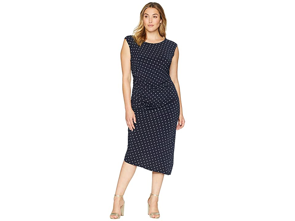 Vince Camuto Specialty Size Plus Size Cap Sleeve Romantic Dots Side Ruched Dress (Classic Navy) Women