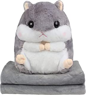 qing niao 3 in 1 Cute Plush Hamster Throw Travel Pillow with Folded Blanket Set Cartoon Stuffed Animal Toys Multifunctiona...