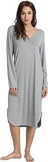 WiWi Womens Soft Bamboo Long Sleeve Nightgown Sleepwear S-4X