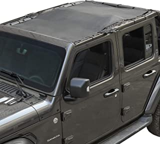 Voodonala Black Sunshade for Jeep JL Shade Mesh Top for 2018 Jeep Wrangler 4-Door JL JLU Unlimited