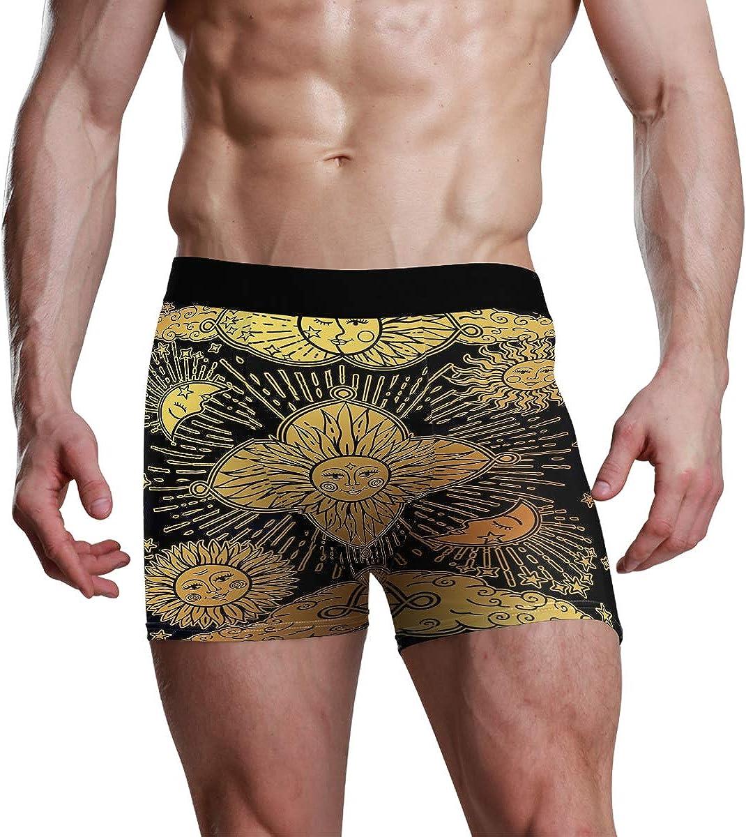 Mens Boxer Briefs Sun Moon and Stars Low Rise Trunks Underwear Breathable Bikini Boys