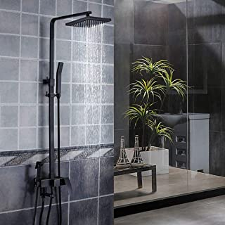 GONGFF Crop Season - Antique Shower Set Wall Mounted Retro Copper Shower Set for Bathroom, Can Rise and Drop (Black),#B,
