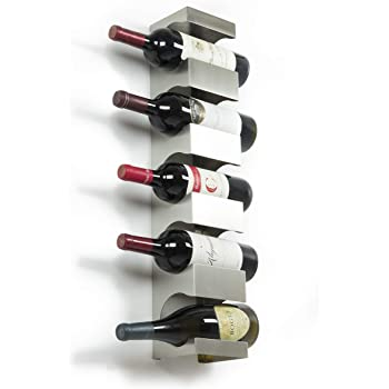 brightmaison 5 Bottle Wine Rack Wall Mounted and Stackable Bottle Rack Holder Storage Organizer with Top Shelf Design for Modern Decor, Metal (Holds 5 Bottles)