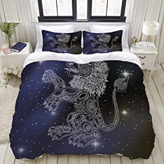 MIGAGA Duvet Cover Set, Leo Sign Zodiac, Decorative 3 Piece Bedding Set with 2 Pillow Shams
