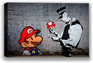 Funny Ugly Christmas Sweater Banksy Mario and Policeman Canvas Print Banksy Graffiti Art Banksy Fans Gifts Mario Painting Ready to Hang Picture Banksy Fans Wall Decor 8