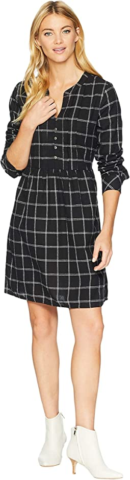 Windowpane Flannel Plaid Mandarin Collar Tuxedo Pleat Dress
