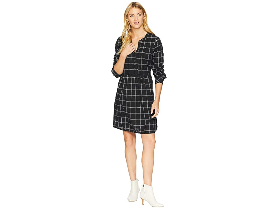 Mod-o-doc Windowpane Flannel Plaid Mandarin Collar Tuxedo Pleat Dress (Black) Women