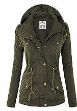 Lock and Love LL Women's Casual Military Safari Anorak Jacket with Hoodie