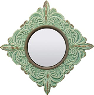 Stonebriar Decorative Antique Green Ceramic Wall Mirror, Vintage Home Décor for Living Room, Kitchen, Bedroom, or Hallway, French Country Decor