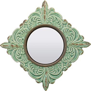 Stonebriar Decorative Antique Green Ceramic Wall Mirror, Vintage Home Décor for Living Room, Kitchen, Bedroom, or Hallway, Fr