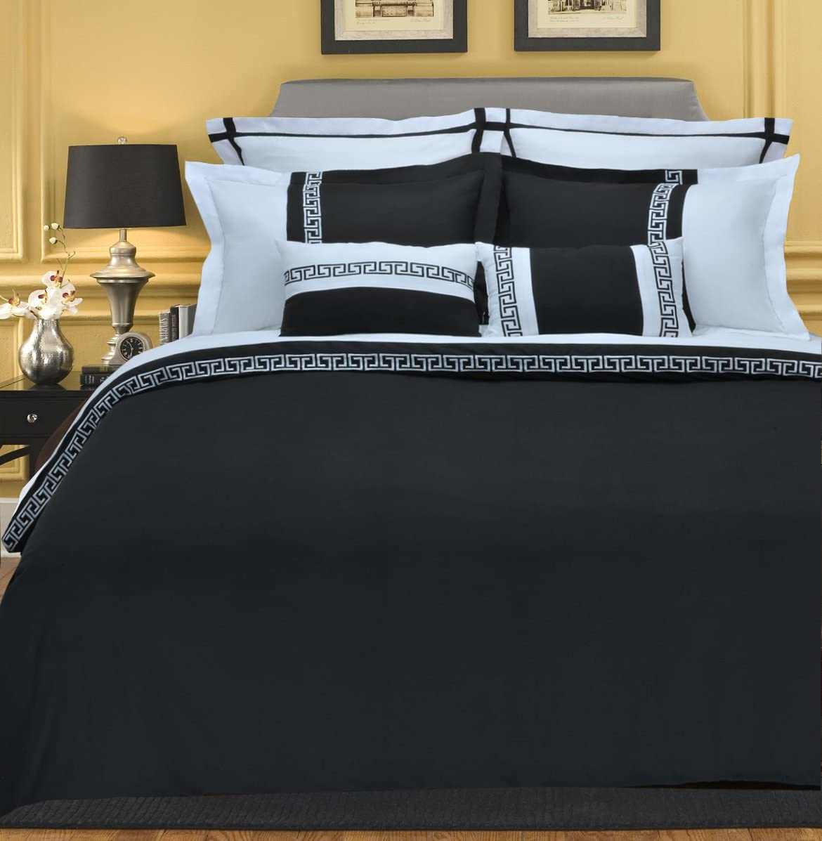3-Piece Emma Wrinkle Resistant Duvet Cover Blac Full Oklahoma City Mall At the price Set Queen