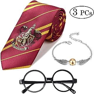 Shinelee 3 Stück Gestreifte Krawatte Goldener Schnatz Quicksilver Armband Party Zubehör Neuheit Wizard Brille für Kinder HP Fans