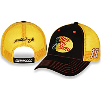 Checkered Flag Martin Truex Jr 2020 Bass Pro Sponsor Mesh Hat Yellow, Black