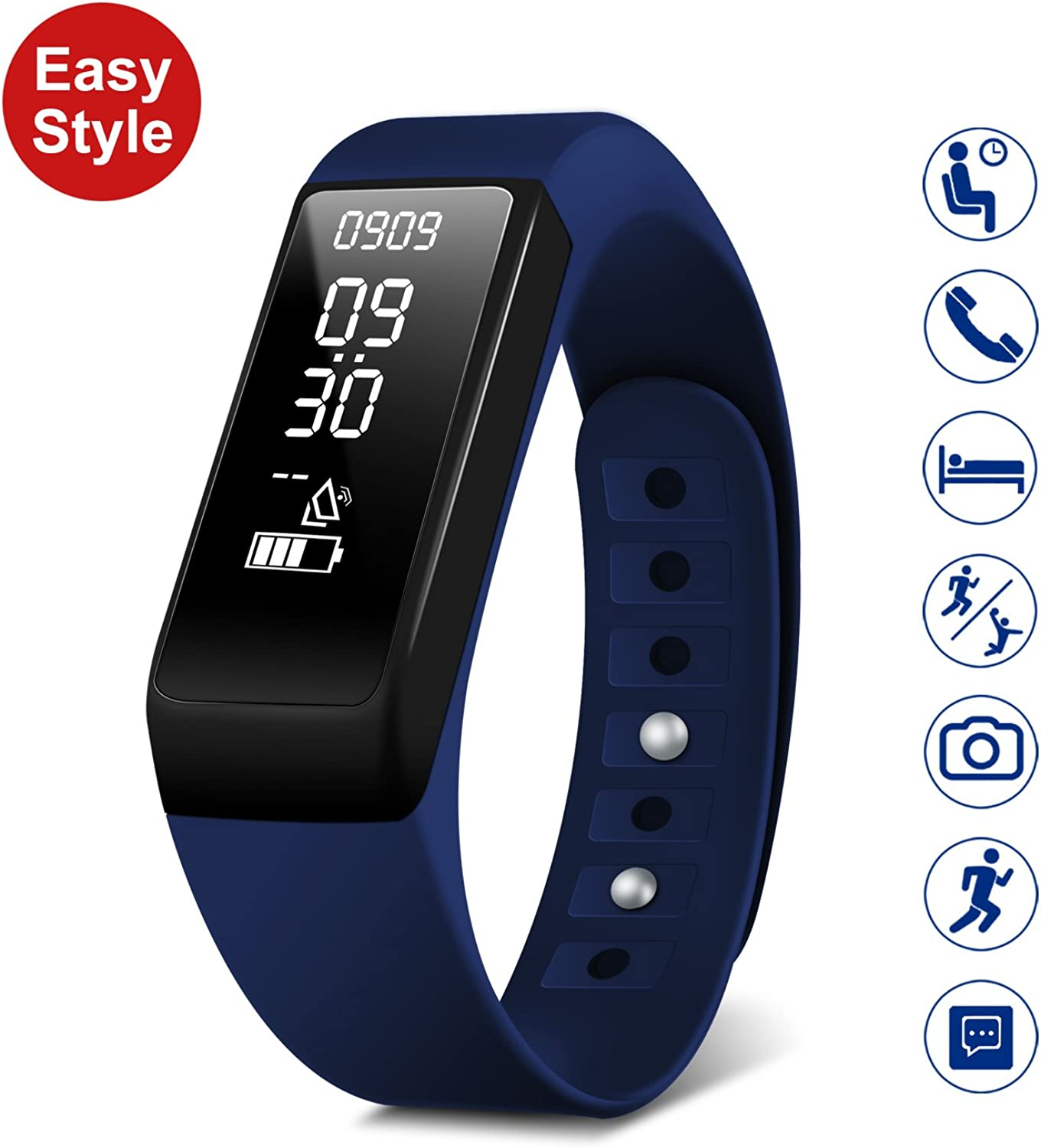 HEIHEI Smart Fitness Tracker Watch I5Plus Waterproof Activity Tracker, Step Calories Counters, Sleep Monitor, Call SMS Reminder, Fitness Watch USB Charging for Women Men Kids (blueee)