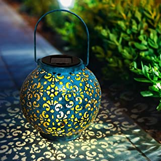 infinitoo Solar Lantern lights, Solar Lights Outdoor Waterproof Glass Lantern Table Lamps Great Outdoor Lawn Décor for Pat...