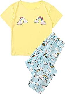 SheIn Women's Cute Rainbow Cloud Print Short Sleeve Tee and Pants Pajama Set Sleepwear