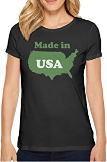 Popular Made In Usa Map Humor Fashion T Shirts For Women's O-Neck Short Sleeve Cotton Womens Tee Shirt
