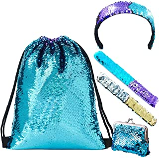 Mermaid Sequin Drawstring Bags, Reversible Sequin Gym Dance Backpacks Magic Glittering Shoulder Bags Unicorn Gift for Hiking Beach Travel Bags