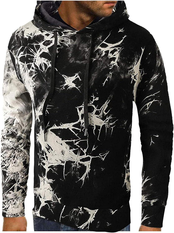 Men's Hoodie Tie Dye Gradient Print Athletic Sweatshirt Long Sleeve Slim Fit Drawstring Workout Pullover Tops Gym Hooded