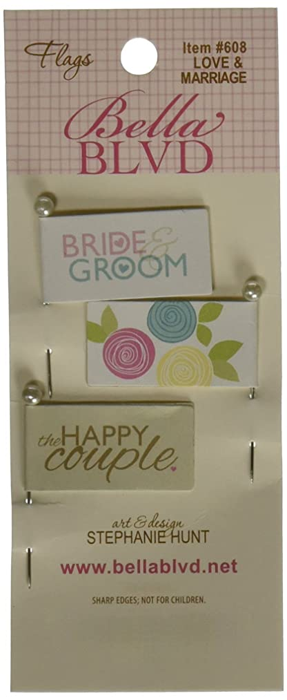 Bella Blvd Love & Marriage Stick Pin Paper Flags 3/Pkg-