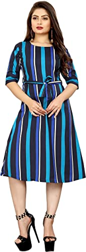 Crepe Striped Short Western Dress for Women 137 XXL Drees for Woman