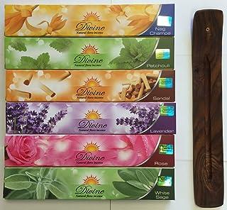 Gift Set of 6 Nag Champa Sandalwood Patchouli Rose Lavender and White Sage Incense Kit(incense Holder Included)