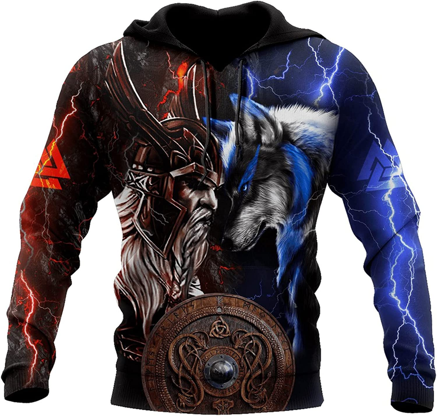 Viking Hoodies,Odin and Wolf 3D All Over Printed Mens Hooded Sweatshirt Unisex Zip Pullover Casual Jacket