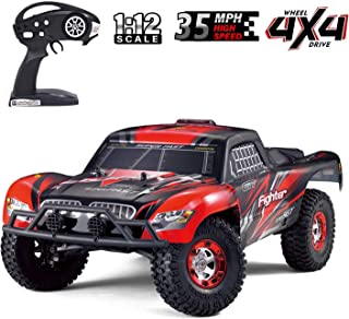 Upgraded Brushless Monster High Speed RC Truck, Keliwow 1:12 Scale 4WD 35 MPH High Speed Off-Road RC Car 2.4Ghz Rock Crawler RTR Desert-1(#01-Red)