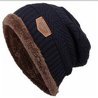 Gome-z NEW Caps For Men Women Thick Winter Beanie Men Knitted Hat Warm Skullies & Beanies With Velvet KC014 navy