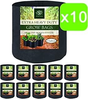 AROMA TREES Round Plant Grow Bags Heavy Duty Thickened Fabric Pot Grow Bags for Gardening Pots, Aeration Container, Planters Healthy Root System (10-Pack 3 Gallon)
