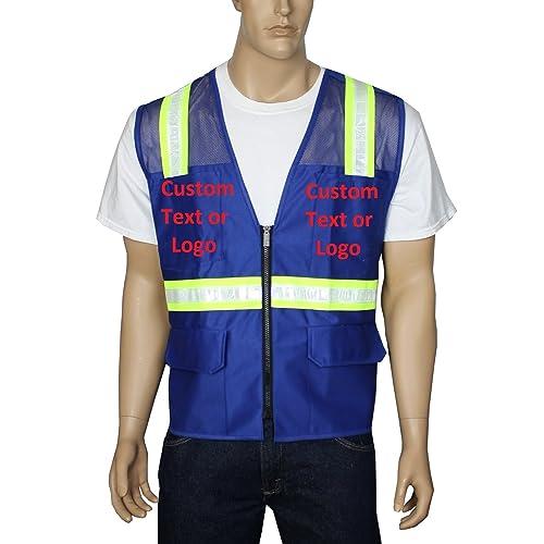 b34c2fc0b4e445 Safety Depot Customizable Two Tone Reflective Surveyor Safety Vest with  Zipper and Pockets Hi-Vis