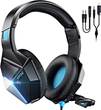 Mpow PC Gaming Headset for PS4,PS5,PC,Xbox One,Switch -7.1 Surround Sound Headset with Microphone,Noise Cancelling,LED Light,Soft Earmuffs,Gaming Headphone with Mic for PS4 Headset (EG10)