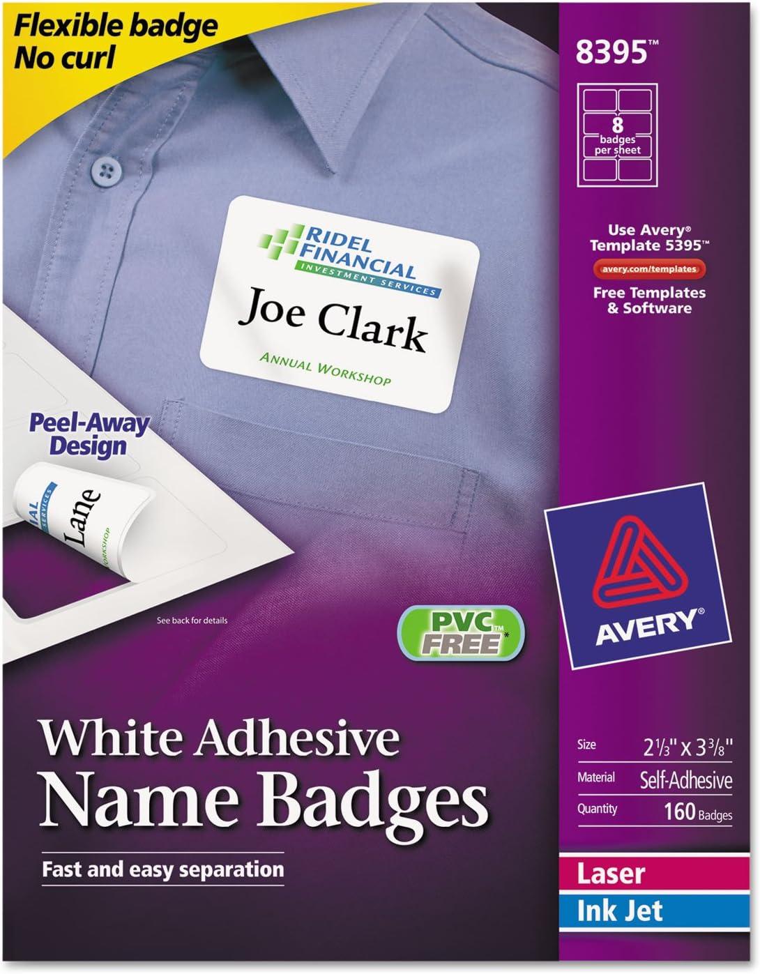 Avery 8395 Laser/Inkjet Name Badges,2-1/3-Inch x3-3/8-Inch,160/PK,Plain WE
