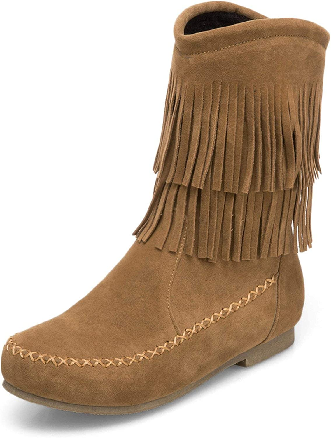 KAOKAOO Women's Moccasin Boots Mid Calf Flat Pull on Faux Suede 2-Layer Fringe Winter shoes