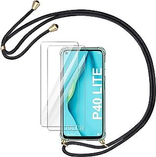 AROYI Huawei P40 Lite fodral + 2 x skärmskydd, [justerbar längd nyckelband] ultra-smal kristall transparent silikon stötsä...