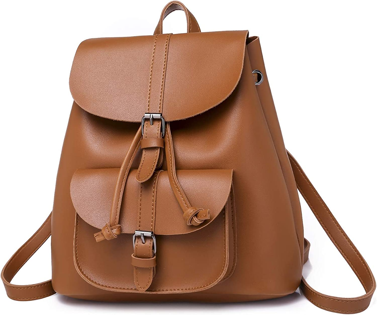 Women's Backpack Retro Style Pu Leather Women's Backpack Trend Bag Suitable for Outdoor Travel Shopping (color   Yellow Brown)
