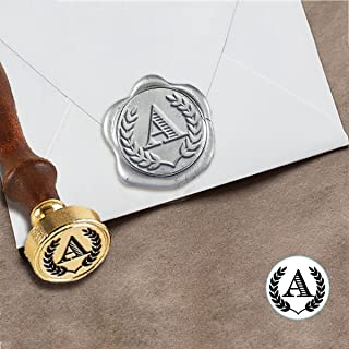 """Custom Wax Seal Initial Stamp Kit with Sealing Wax-1"""" Die with Chevalier Font & Laurels"""