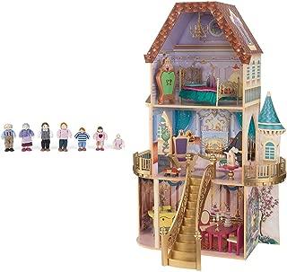 KidKraft Belle's Enchanted 3 Floor Wooden Pretend Play Dollhouse + Doll Family
