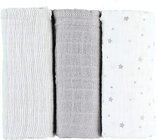 Noukies Set met 3 luiers van bio-mosselin, grijs, 70 x 70 cm, 1 stuks