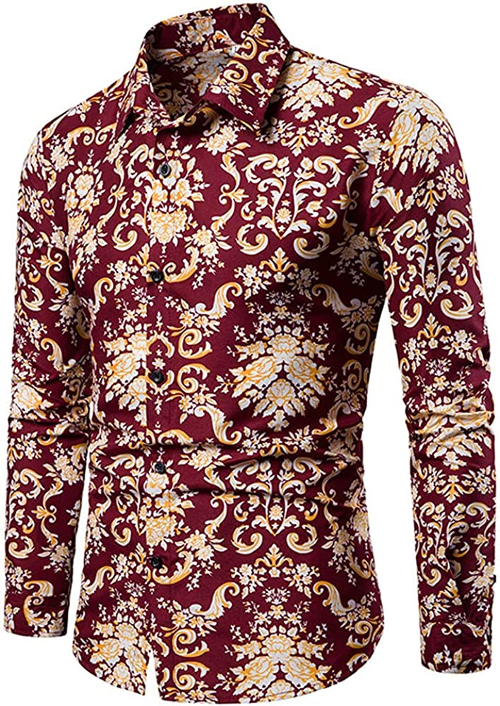 Ulooker Men's Paisley Cotton Long Sleeve Shirt Floral Print Retro Button Down Shirt