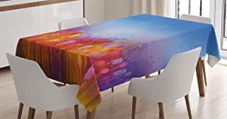 "Ambesonne Flower Tablecloth, Abstract Tulip Garden Under Blue Sky in Medieval Ottoman Orient Culture, Dining Room Kitchen Rectangular Table Cover, 52"" X 70"", Pink Blue"
