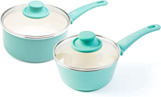 GreenLife Soft Grip Nonstick saucepan set, 1 Qt and 2 Qt, Turquoise
