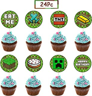 24 Pcs Pixel Miner Crafting Cake Toppers for Games Theme Party,Baby Shower and Happy Birthday Cupcake Decor ,8 Styles