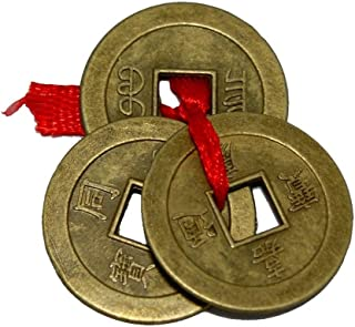 Divya Mantra Chinese Feng Shui Antique Fortune I-Ching Coin Ornaments for Good Luck, Success & Prosperity/Ancient Tibetan Buddhist Wealth Charm Amulet Coins w/Hole & Red Knot – Brown