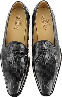[ルシウス] ビジネスシューズ メンズ 革靴 スリッポン タッセル ローファー 本革 レザー ドレスシューズ 紳士靴 春 靴 【525-1C-CPZ】