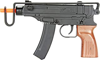 BBTac M37F Airsoft Spring Pistol SMG 200 FPS with Over Folding Wire Stock and Faux Wood Grip Gun