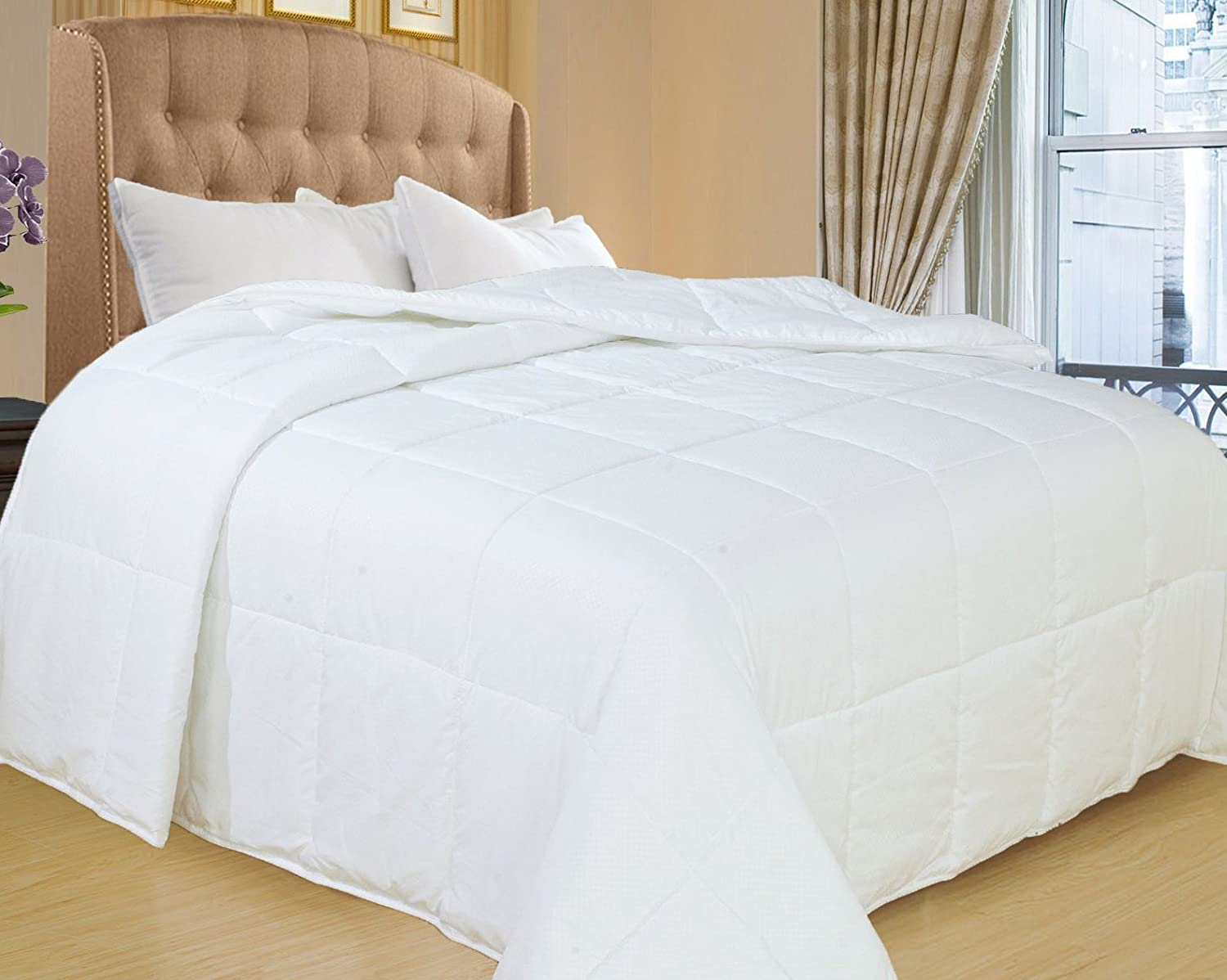 Natural Comfort White Down Alternative Comforter with Embossed Microfiber Shell, Light Weight Filled, Full
