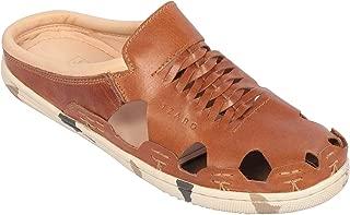 tZaro Men's Genuine Leather Tan Color Mule - Hector Army Tan